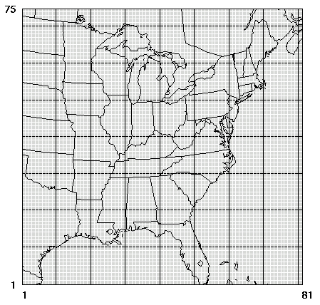 Modeling Parameters - Us map with grid